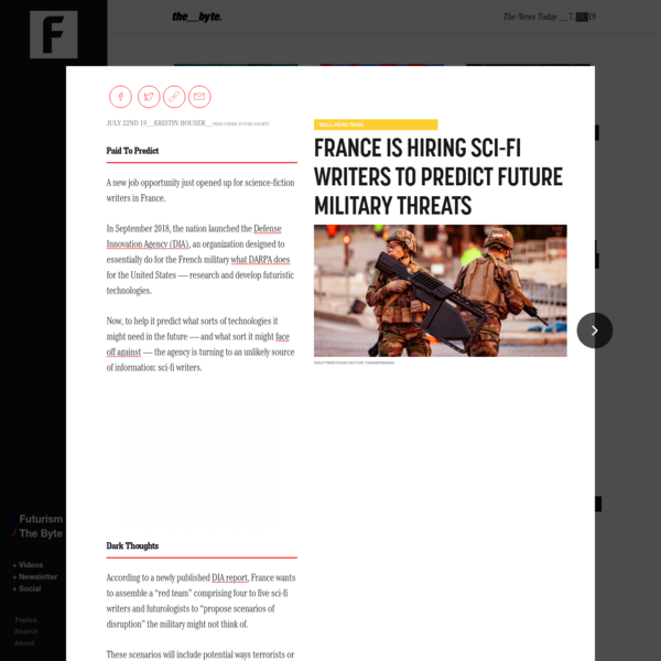France is hiring sci-fi writers to predict future military threats
