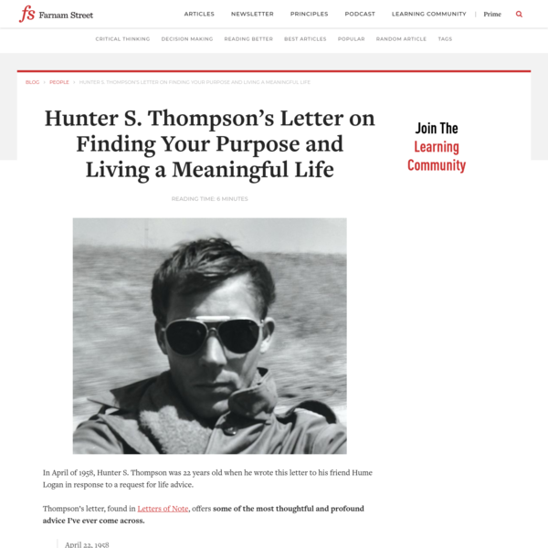 Hunter S. Thompson's Letter on Finding Your Purpose and Living a Meaningful Life