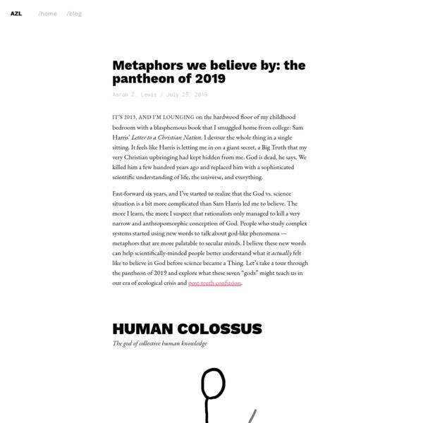 Metaphors we believe by: the pantheon of 2019
