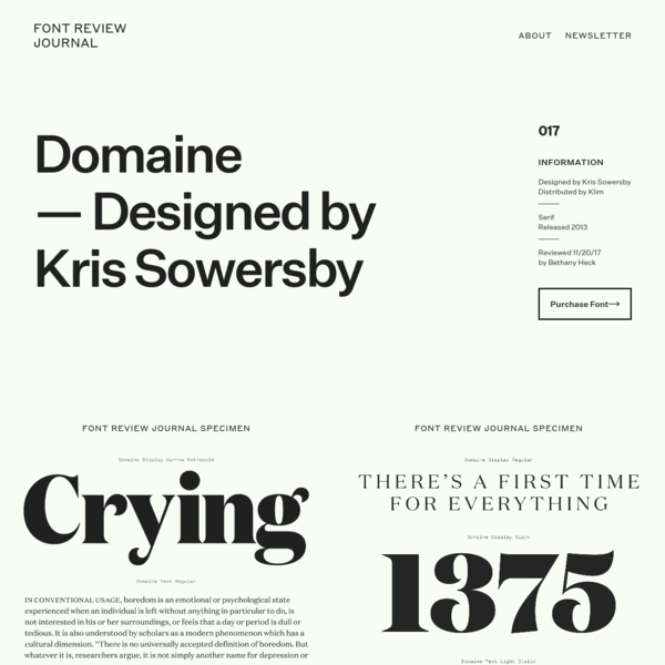 Domaine - Font Review Journal