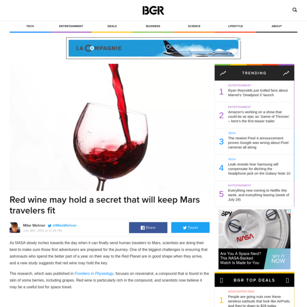 Red wine may hold a secret that will keep Mars travelers fit
