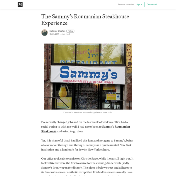 The Sammy's Roumanian Steakhouse Experience