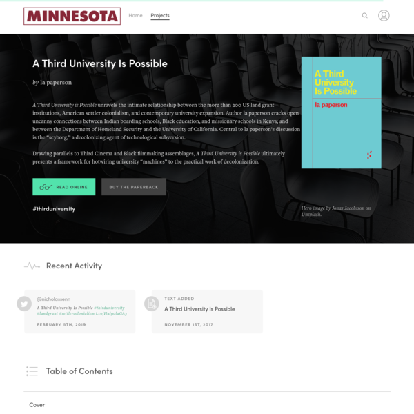 """A Third University Is Possible"" on Manifold @uminnpress"
