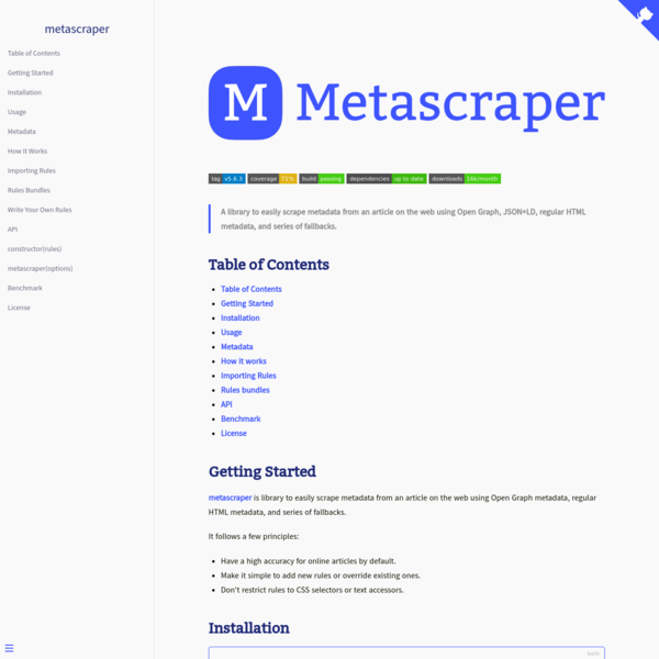 metascraper, easily scrape metadata from an article on the web.