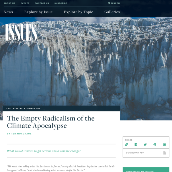 The Empty Radicalism of the Climate Apocalypse | Issues in Science and Technology