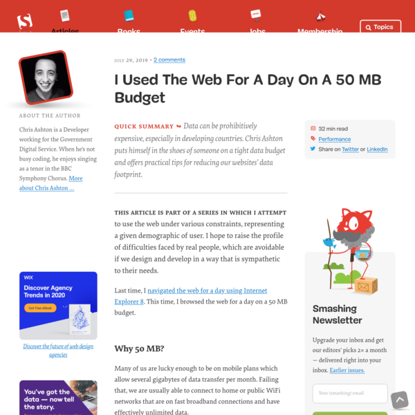 I Used The Web For A Day On A 50 MB Budget - Smashing Magazine