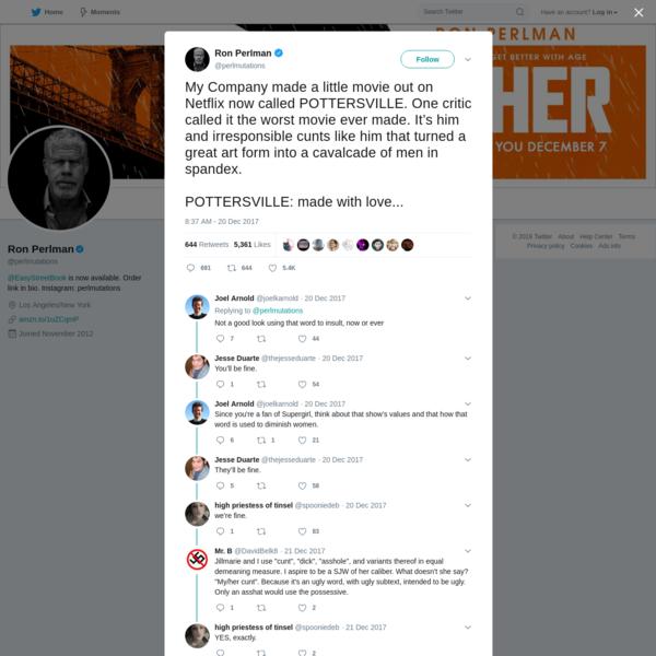 Ron Perlman on Twitter