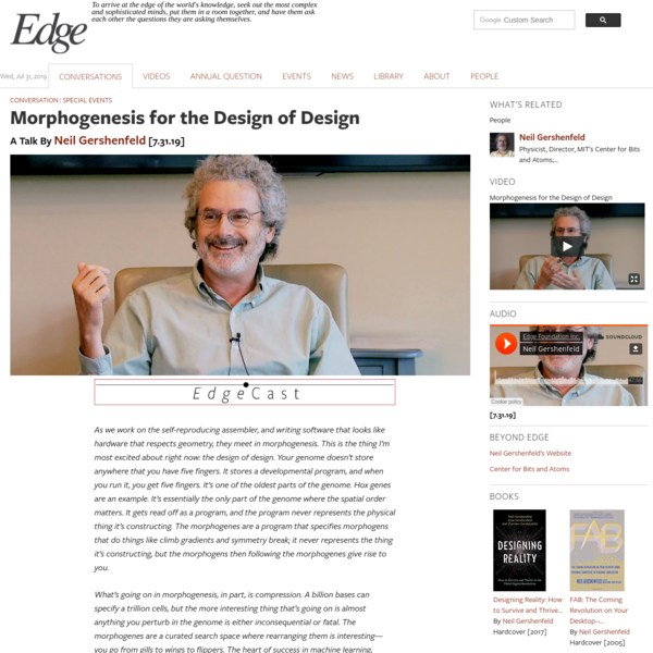 Morphogenesis for the Design of Design