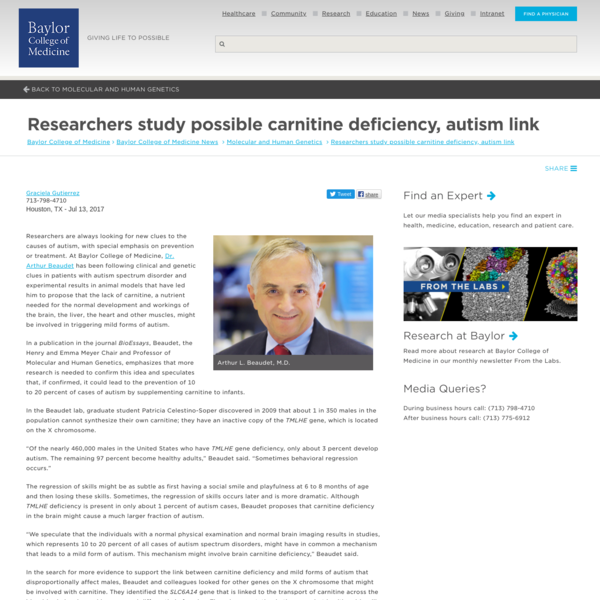 Researchers study possible carnitine deficiency, autism link