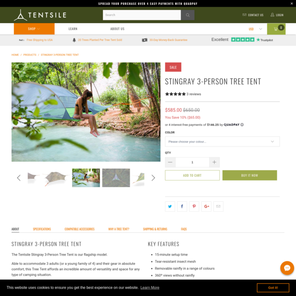 Stingray 3-Person Tree Tent