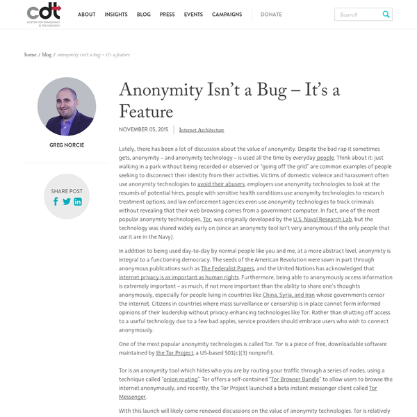 Anonymity Isn't a Bug - It's a Feature