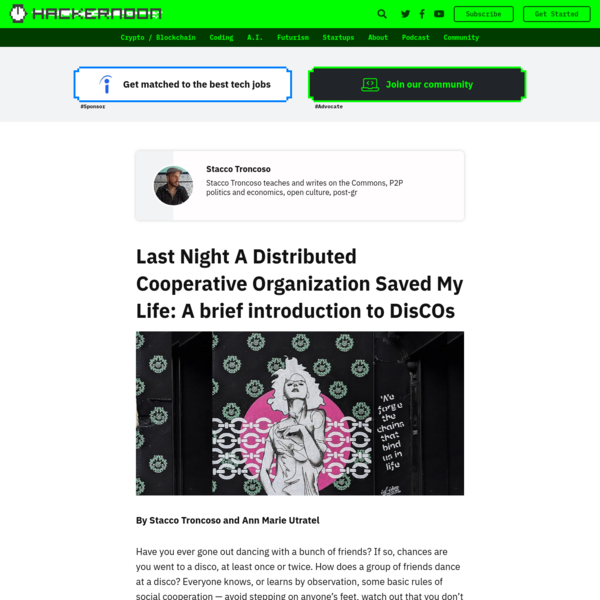 Last Night A Distributed Cooperative Organization Saved My Life: A brief introduction to DisCOs