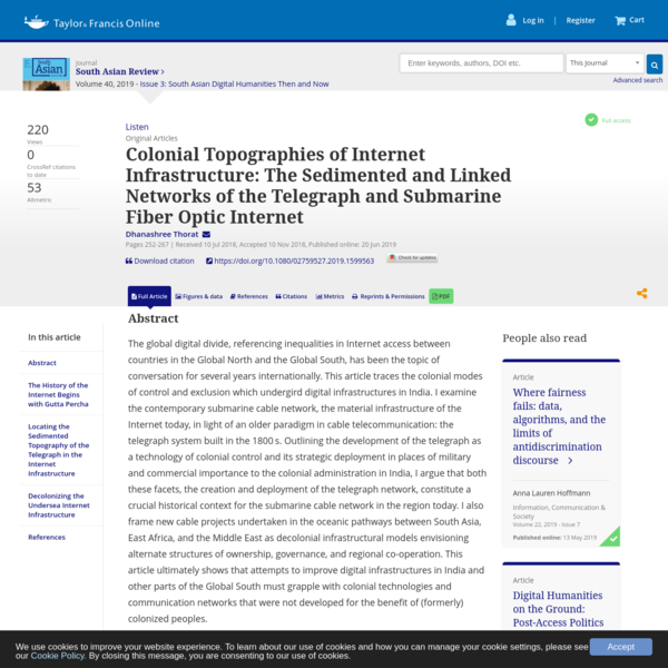 Colonial Topographies of Internet Infrastructure: The Sedimented and Linked Networks of the Telegraph and Submarine Fiber Op...