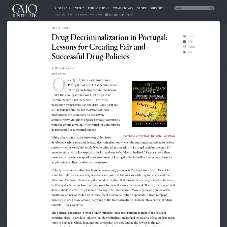 the need for revision of the current drug policy to decriminalize drug use