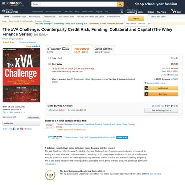 The xVA Challenge: Counterparty Credit Risk, Funding, Collateral and Capital (The Wiley Finance Series): 9781119109419: Economics Books @ Amazon.com