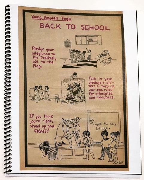 """from Black Panther Sisters on Women's Liberation, """"Young People's Page: Back to School"""""""