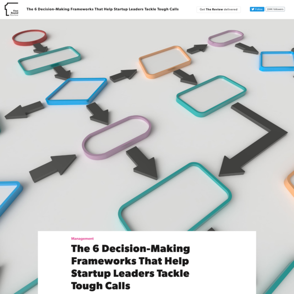 The 6 Decision-Making Frameworks That Help Startup Leaders Tackle Tough Calls