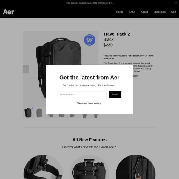 Travel Pack 2 - Black - Aer   Modern gym bags, travel backpacks and laptop backpacks designed for city travel