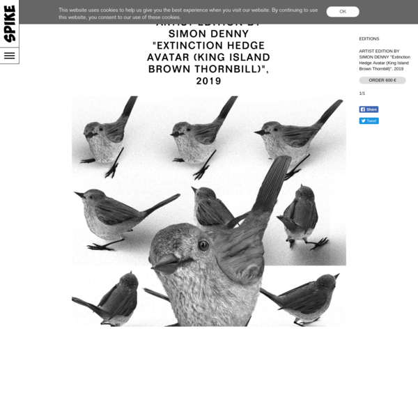 "ARTIST EDITION BY SIMON DENNY ""Extinction Hedge Avatar (King Island Brown Thornbill)"", 2019"