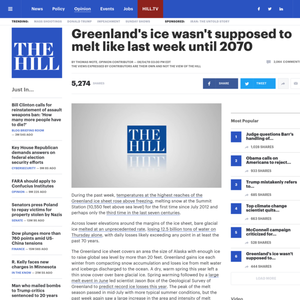 Greenland's ice wasn't supposed to melt like last week until 2070 | TheHill