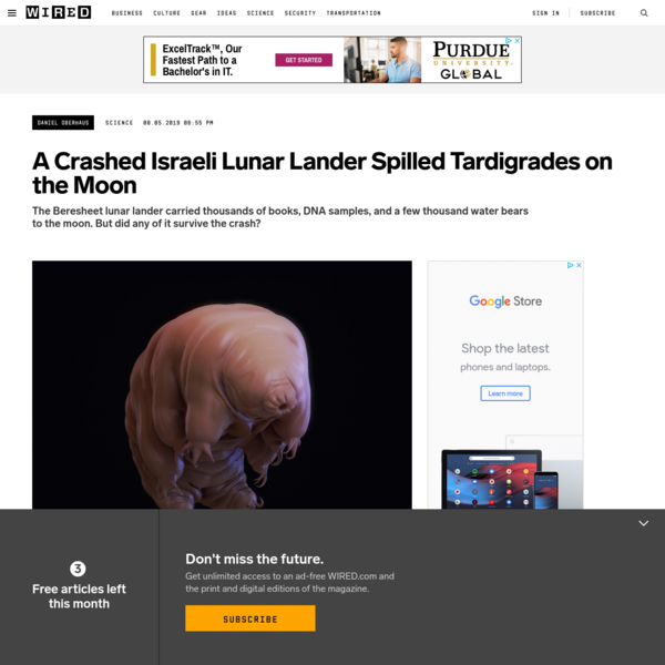 A Crashed Israeli Spacecraft Spilled Tardigrades on the Moon