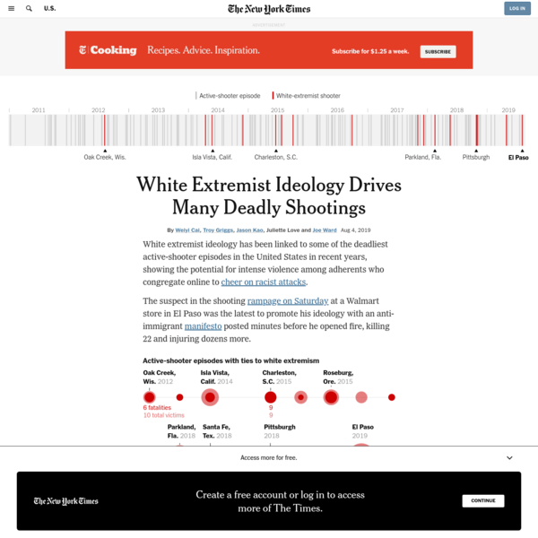 White Extremist Ideology Drives Many Deadly Shootings