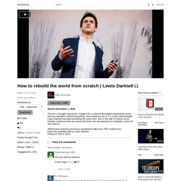 How to rebuild the world from scratch | Lewis Dartnell
