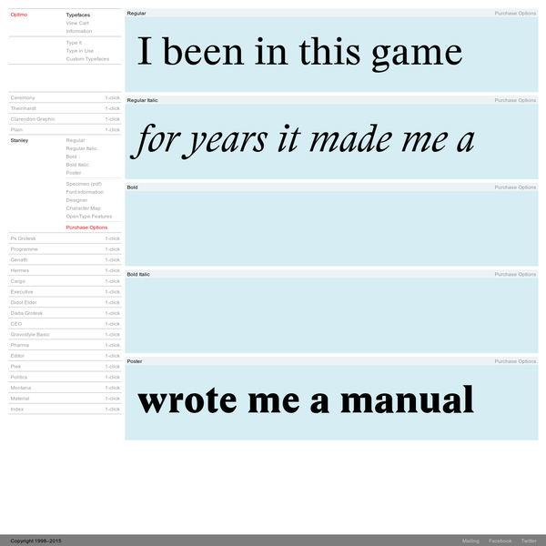 Optimo Type Foundry Typefaces - Stanley