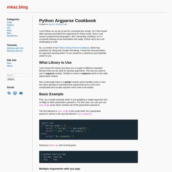Python Argparse Cookbook