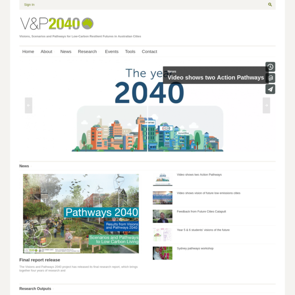 Visions and Pathways 2040 - Visions, Scenarios and Pathways for Low-Carbon Resilient Futures in Australian Cities