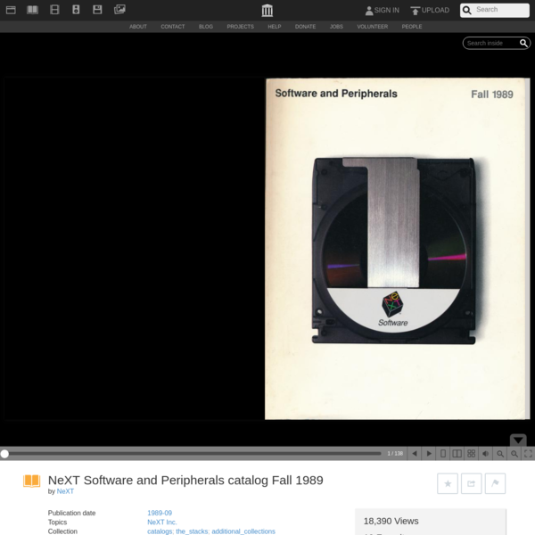 NeXT Software and Peripherals catalog Fall 1989 : NeXT : Free Download, Borrow, and Streaming : Internet Archive