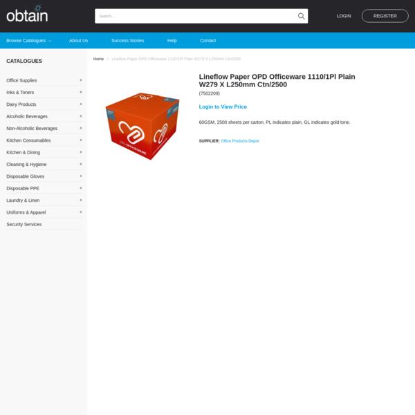 Lineflow Paper OPD Officeware 1110/1Pl Plain W279 X L250mm Ctn/2500 | Obtain Limited