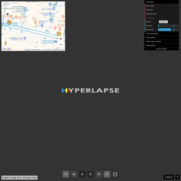Hyperlapse Engine. Google Street View Hyperlapse creation tool.