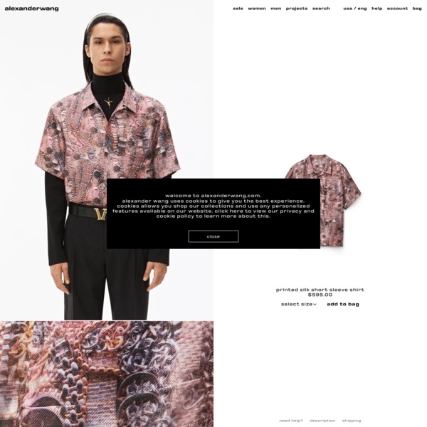 alexanderwang printed silk short sleeve shirt