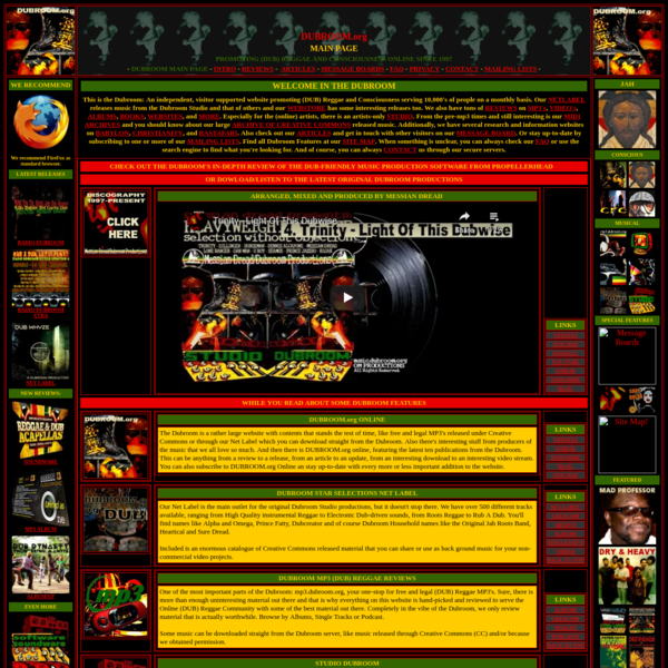 Main Page - Dubroom - Promoting (Dub ) Reggae and Consciousness