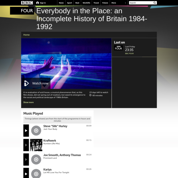 BBC Four - Everybody in the Place: an Incomplete History of Britain 1984-1992