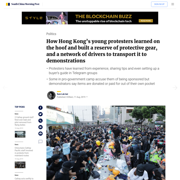 How Hong Kong's young protesters built a reserve of protective gear