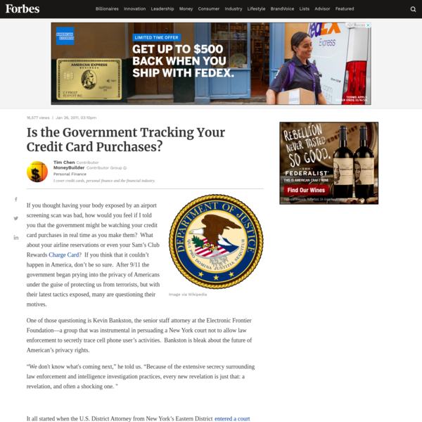 Is the Government Tracking Your Credit Card Purchases?