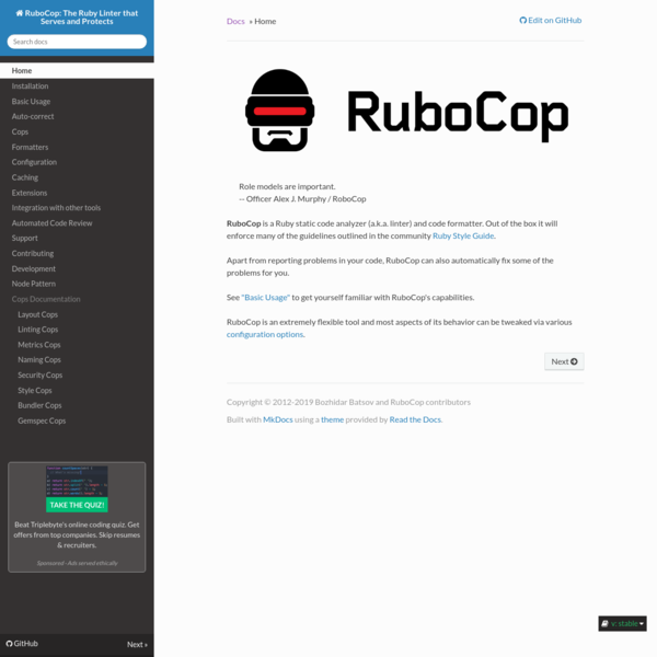 Home - RuboCop: The Ruby Linter that Serves and Protects