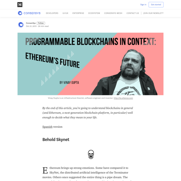 Programmable Blockchains in Context: Ethereum's Future