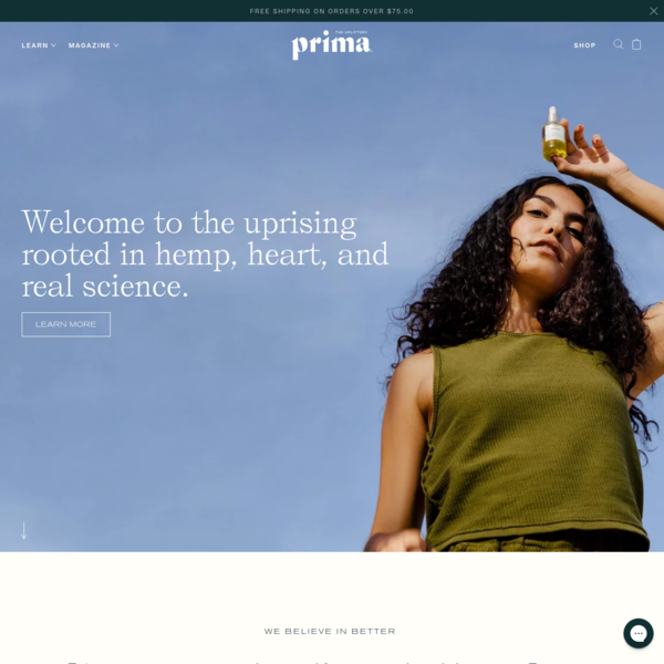 Prima | Beauty & Wellness Rooted in CBD, Hemp, Heart, and Science