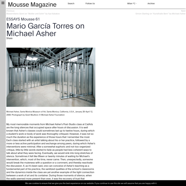 Mario García Torres on Michael Asher