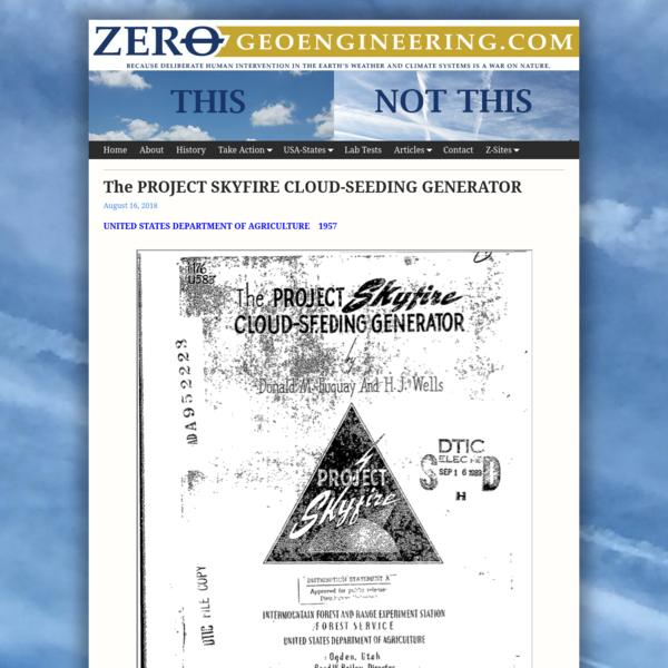 The PROJECT SKYFIRE CLOUD-SEEDING GENERATOR * Zero Geoengineering