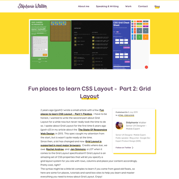 Fun places to learn CSS Layout - Part 2: Grid Layout, by Stéphanie Walter