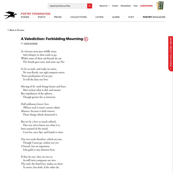 A Valediction: Forbidding Mourning by John Donne