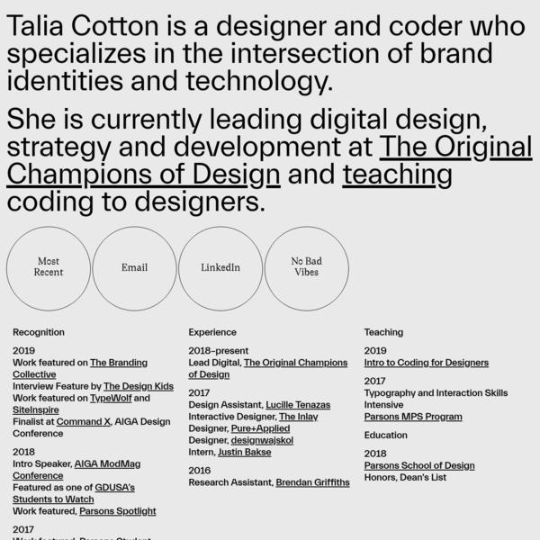 Talia Cotton | Designer and Coder in New York City