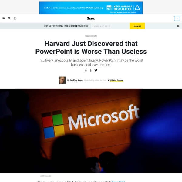 Harvard Just Discovered that PowerPoint is Worse Than Useless | Inc.com