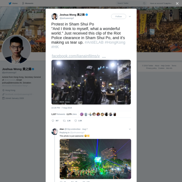 Joshua Wong 黃之鋒 on Twitter