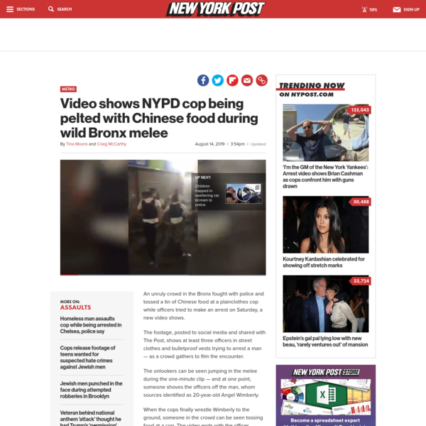 Cop pelted with Chinese food during fight in the Bronx