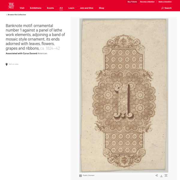 Associated with Cyrus Durand   Banknote motif: ornamental number 1 against a panel of lathe work elements, adjoining a band ...